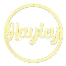 Personalised Name Hoop With Hole 3mm Gold MDF Wood Circle Nursery Wall Sign